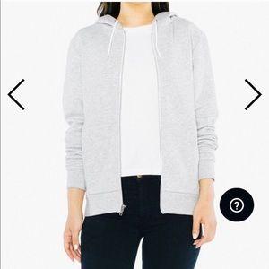 American Apparel Zip Up Gray Sweatshirt Hoodie